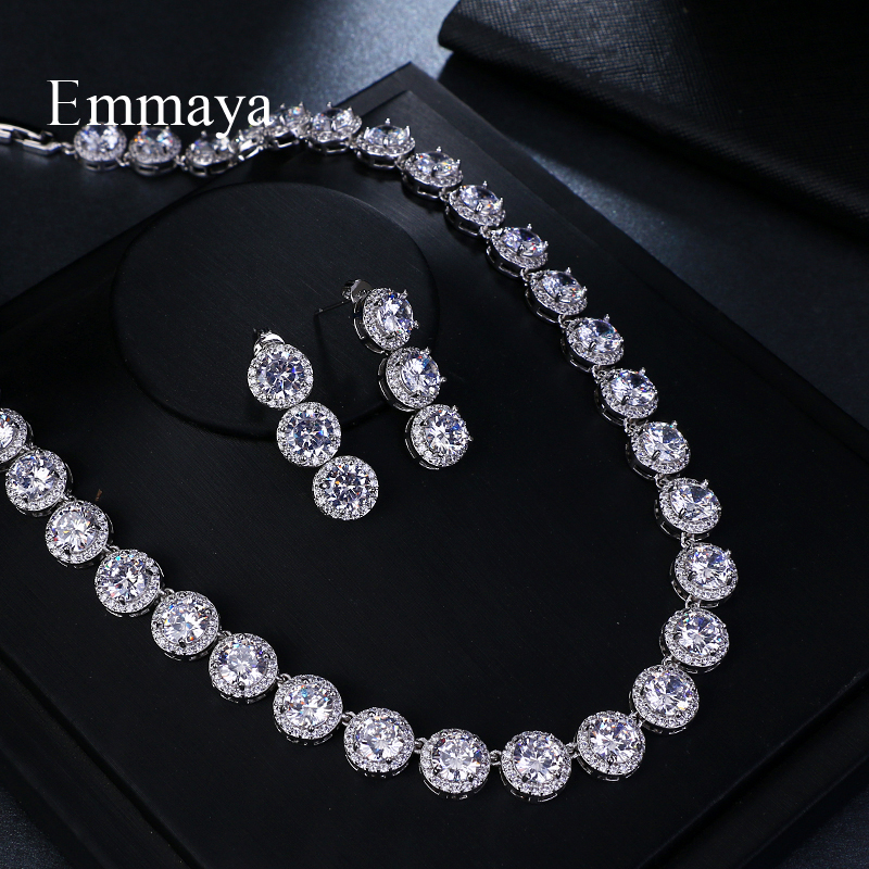 Emmaya Brand Gorgeous Round Jewelry White Gold Color AAA Cubic Zircon Wedding Jewelry Sets For Lover Brides Popular Jewelry Gift