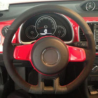 Top Leather Steering Wheel Hand stitch on Wrap Cover For Volkswagen Beetle 2012 2016