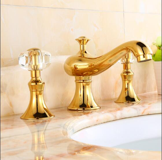 ᓂnew Arrival High Quality Gold Bathroom Faucet Luxury 8 Inch