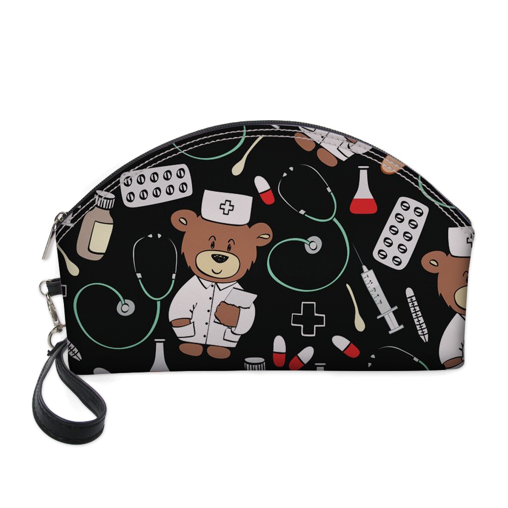 FORUDESIGNS Cute Nurse Bear Printing Cosmetic Bag Women Travel Make up Toiletry Bags Makeup Handbag Organizer Case Kits Storage in Cosmetic Bags Cases from Luggage Bags