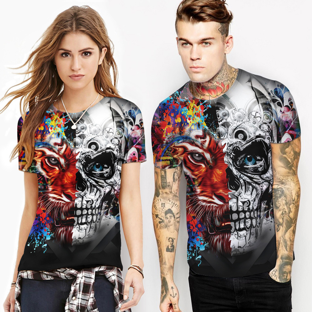 Hip Hop tiger digital print casual wear sweaty couple round neck death's head short sleeved T-shirt women's summer shirt Top