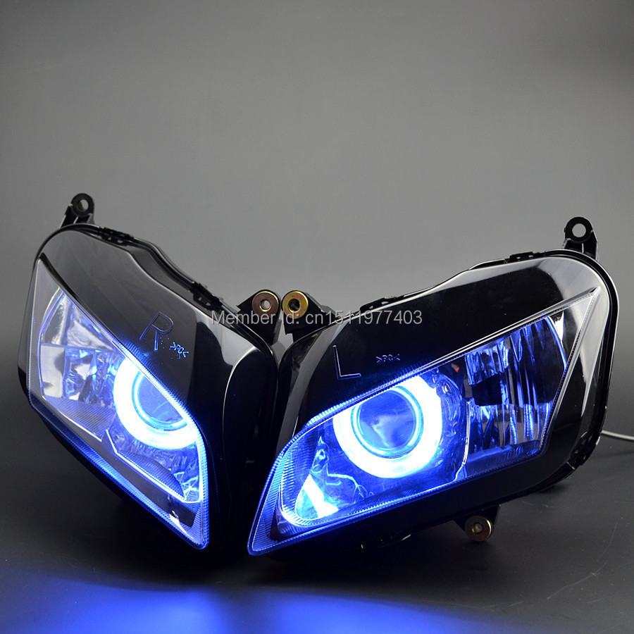 Projector custom headlight assembly hid blue angel eyes fit for cbr600rr cbr600 rr 2007 2012