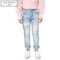 HAYDEN Girls Ripped Patch Jeans Kids Embroidery Vintage Hippie Jeans Children Fashion Brand Denim Pants 2017 Spring Summer New