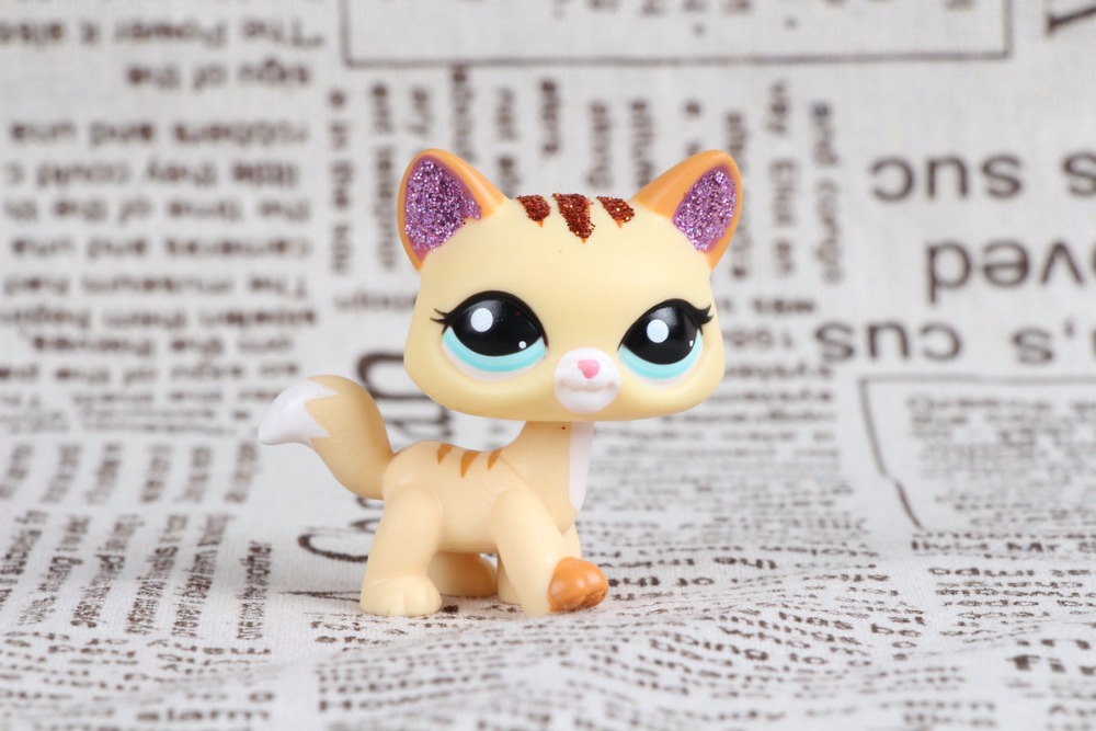New Pet Collection Figure LPS #2255 Sparkle Glitter Cat Kitty Yellow Animal Gift Toy lps toy pet shop cute beach coconut trees and crabs action figure pvc lps toys for children birthday christmas gift