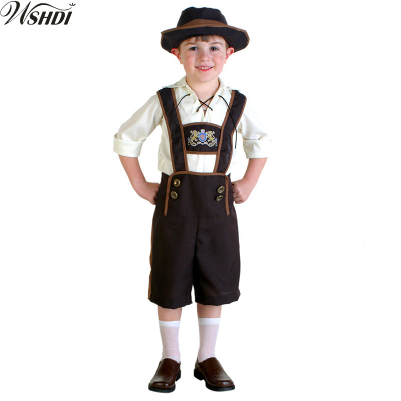 Children Germany Oktoberfest Beer Festival Boys Waiter Costume Outfit Kids Cool Beer Funny Child Role Play Halloween Costume