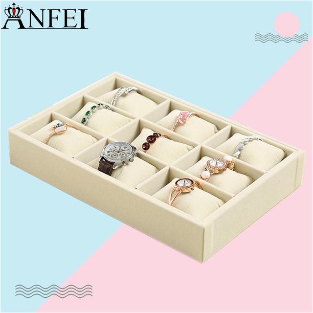 High end Jewelry Tray Watch Pillow Display Ring Earring Case