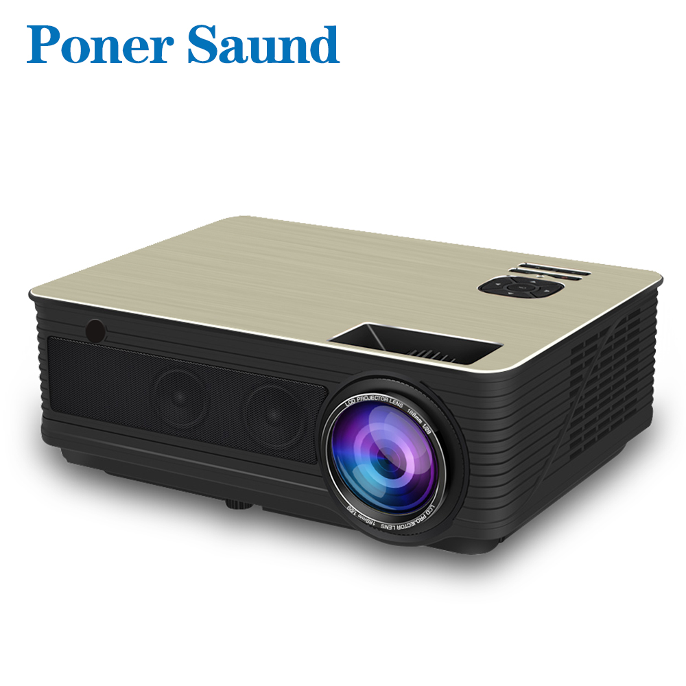 Poner Saund M5 vidéoprojecteur full hd led En Option Android 6.0 Projetor 4500 Lumens 1080 P Vidéo Beamer HDMI WiFi Bluetooth Proyector