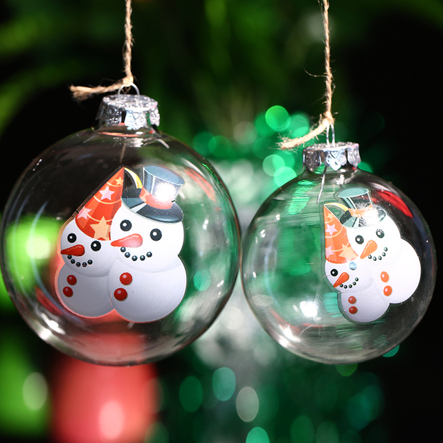 freeship glass christmas ball ornament couples snowmantransaprent glass ball holiday decoration christmas tree - Outdoor Christmas Ball Ornaments