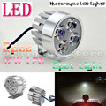 2pcs Metal Silver Electric Motor Bike Motorcycle 12W 4 LED Headlight Work Head Light Driving Fog Spot Night Safe Lamp Universal