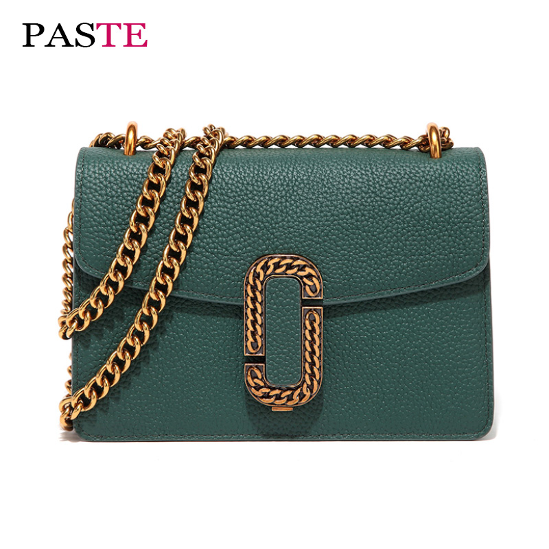 PASTE brands genuine leather shoulder bags female fashion  high quality soft  women handbag chain vintage small crossbody bag high quality pneumatic paste