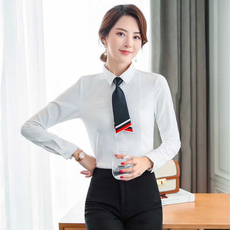 Formal Women Work Blouses & Shirts with Tie Ladies White ...