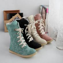 New 2017 fashion female flat wedding sexy leather ladies snow boots for women and women's autumn winter shoes Size 34-43