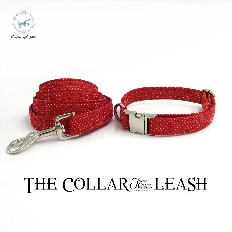 Red dot dog collare e guinzaglio set con farfallino personalizzato personal regolabile pet pupply cottonCat Dog Pet Collare Della Trazione corda