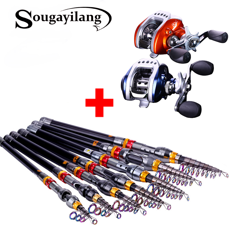 Sougayilang 180 360cm telescopic fishing rod and for Left handed fishing pole