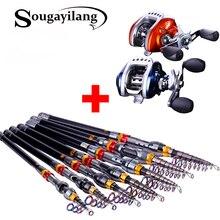 Sougayilang 180-360cm Telescopic Fishing Rod and Baitcasting Fishing Reel Combo Spinning Fishing Rod Left/Right Hand Reel Wheel