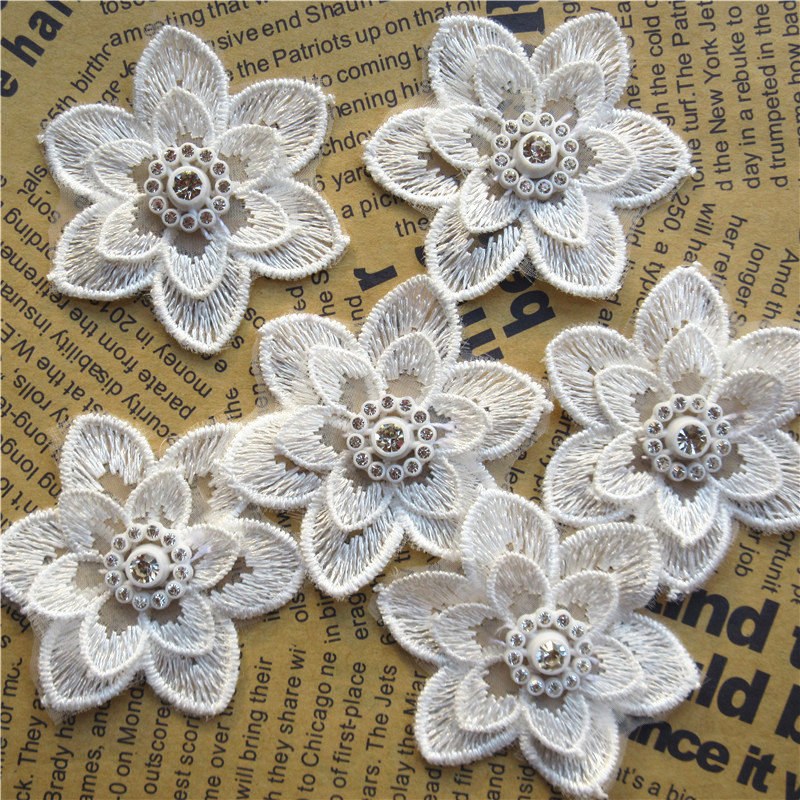 Initiative 5pcs Ivory 5x5cm Diamond Flower Embroidered Lace Trim Applique Fabric Lace Ribbon Diy Sewing Craft For Costume Hat Decoration Utmost In Convenience Home & Garden