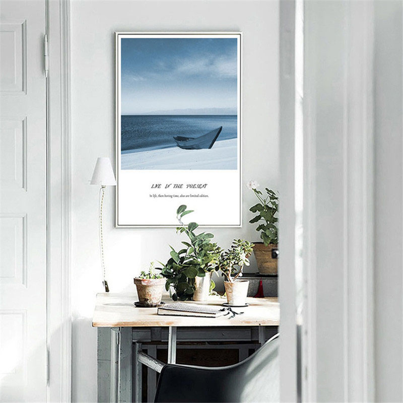 HAOCHU New Canvas Art Print Painting Poster Nordic Modern Ocean Landscape Personality Home Living Room Mural Decoration Picture in Painting Calligraphy from Home Garden