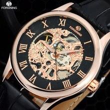 2016 FORSINING sport de luxe Montres hommes mode Squelettique d'or Mécanique main vent bracelet En Cuir Montres relogio masculino