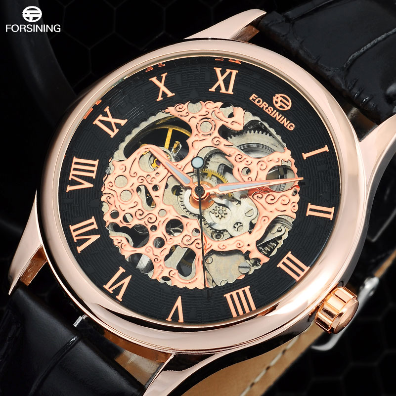 FORSINING Fashion Brand Men'S Casual Watches Men Leather Band Hand Wind Skeleton Mechanical Wirst Watches Relogio Masculino