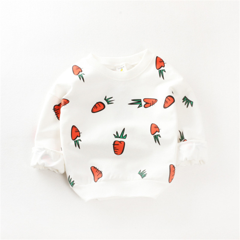 Autumn Kids Shirt Cotton Children T Shirt Carrot Pattern Clothing Long sleeved Fashion Winter Warm Baby Sweaters For girl Boy in Hoodies Sweatshirts from Mother Kids