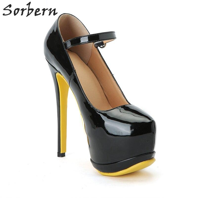 custom Cuir Chaussures Personnalisé Noir Femmes En Sorbern Verni Boucle P Couleur Talons Service Pompes forme Haute Plate Pour Pompe De Dames Sangle 2H9EWDI