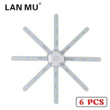 LAN MU 6PCS LED Light Board Ceiling Lamp 12W 16W 20W 24W LED Bulb Light AC220V PCB Board Octopus Tube 5730SMD Energy Saving Lamp high bright ceiling lamp 12w 16w 24w 220v pcb board modified light source led bulb plate octopus tube energy saving lamp plafon