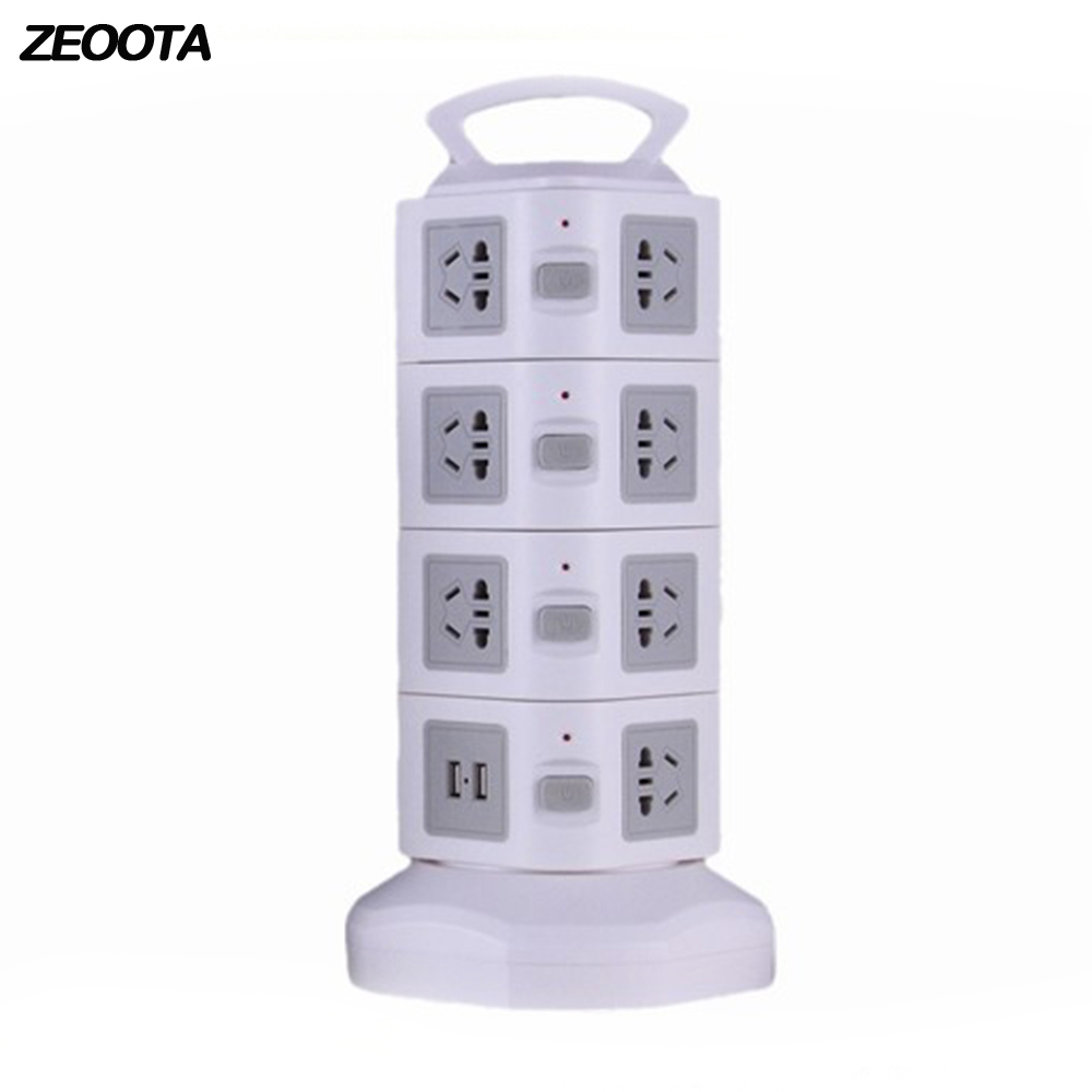 Tower USB Power Strip Vertical Multi Sockets 15 AC AU Plug Outlets USB Socket with 2 USB Ports with 2m/6.5Ft Extention Cord