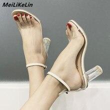MeiliKeLin Factory discount price women sandals 7 cm Transparent heel crystal sandals ankle belt High Heel female summer shoes васильев александр византия и крестоносцы падение византии
