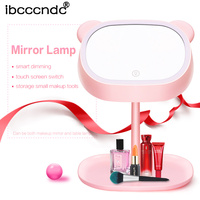 Double sided Rotation Folding USB LEDs Lighted Makeup Mirror Touch Screen Portable Tabletop Lamp Mirror Make Up Iluminador