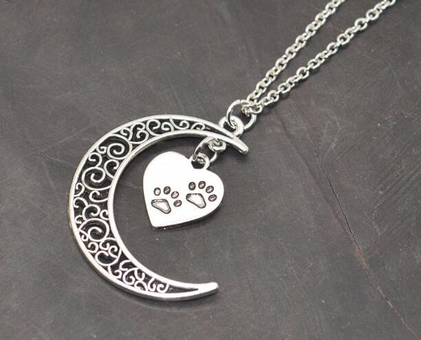 Crescent Moon & Paw Prints Pendant Necklaces Ancient Silver Heart Charms Jewelry New