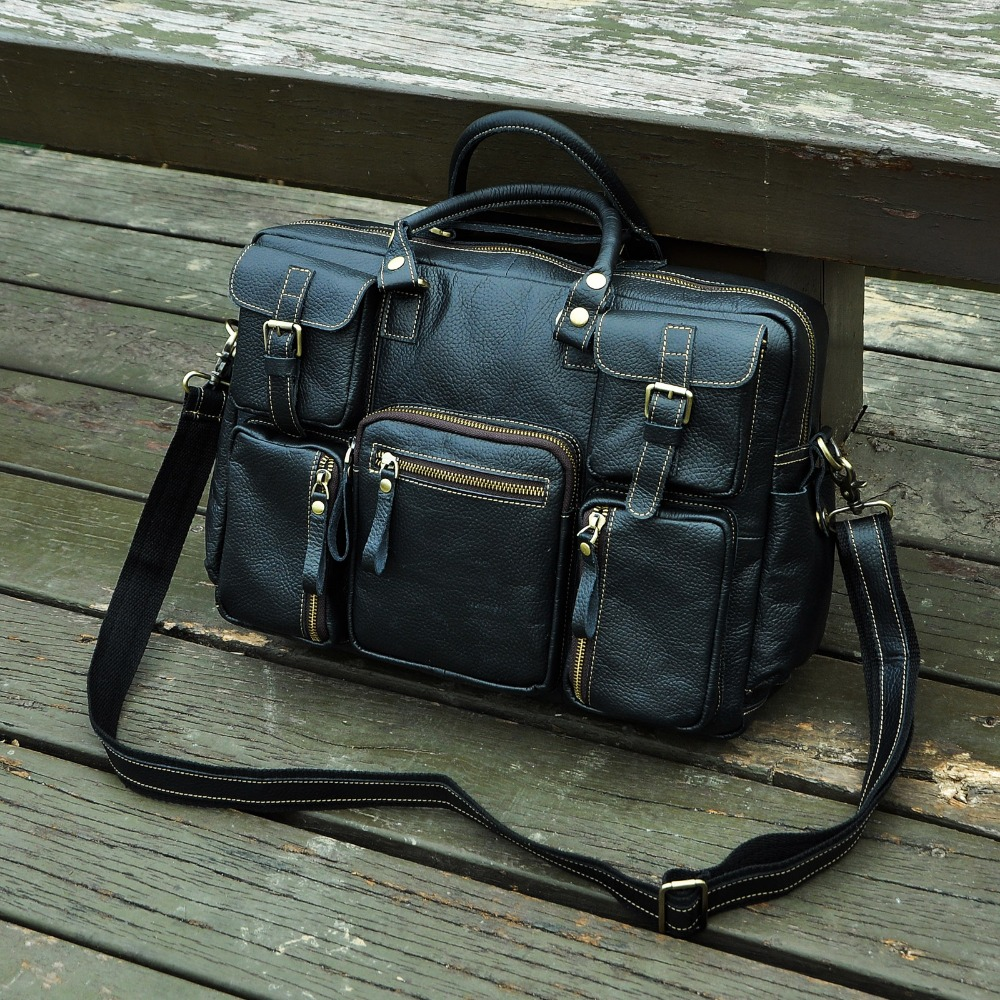 "HTB1C1m0fDnI8KJjy0Ffq6AdoVXa8 Men Real Leather Antique Large Capacity Travel Briefcase Business 15.6"" Laptop Case Attache Messenger Bag Portfolio 3061-b"