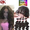 Queenking grau 7a cabelo virgem brasileiro com fecho de cabelo humano com fecho de 4 feixes onda do corpo brasileiro com lace closure