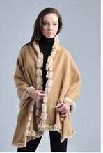 Camel Female 100% Wool Rabbit Fur Scarves Shawls Europe And America Stylish Pashmina Tippet Dropshipping Size 180*70cm SW01-B