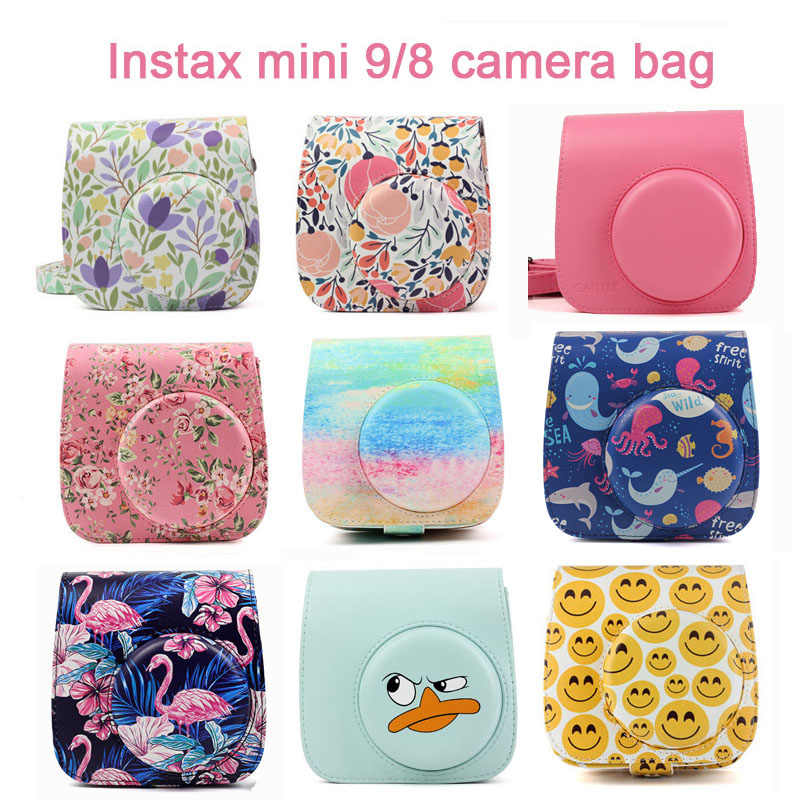 Fuji Fujifilm Instax Mini 9 Mini 8 Camera Bag PU Leather Instant Camera Accessories Shoulder Bag Protector Cover Case With Strap