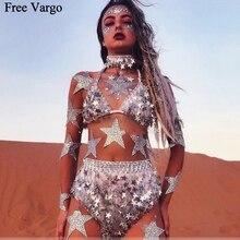 הולוגרפית שריפת איש רווה EDM מוסיקה פסטיבל כוכב Seq תלבושות בגדי הילוך בגד גוף ריקוד ללבוש נשים זינגר שלב תלבושות
