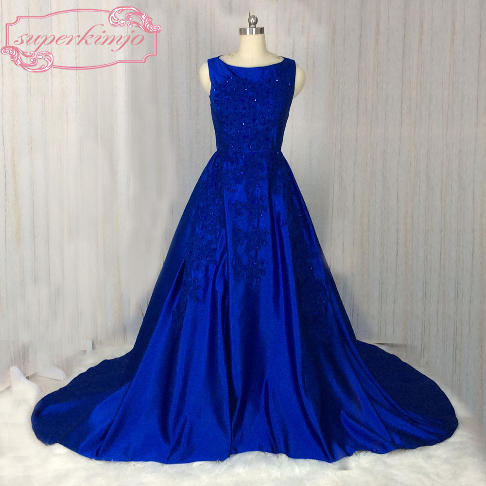 SuperKimJo 2018 Robe De Soiree Lace   Prom     Dresses   Long Sleeveless Royal Blue Beaded Elegant   Prom   Gown   Dress