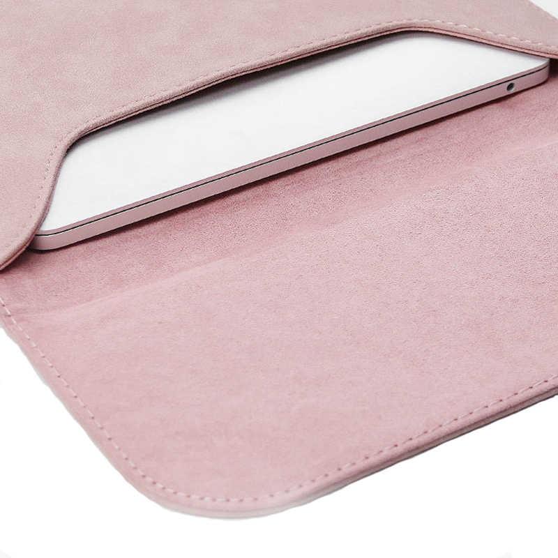 Matowy rękaw ze skóry pu wodoodporna torba na laptop 14 15.6 na Macbook Xiaomi Air 13 Case 11 12 nowy 2018 pro 15 pokrywa kobiety torby męskie