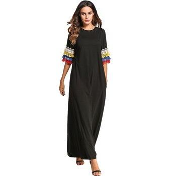 e3ef1fe6bb2 2019 Summer Tassel Design Long Hooded Dress Oversized Muslim Abaya Women  Ramadan Turkish Kaftan Dubai Robe Plus Size VKDR1163