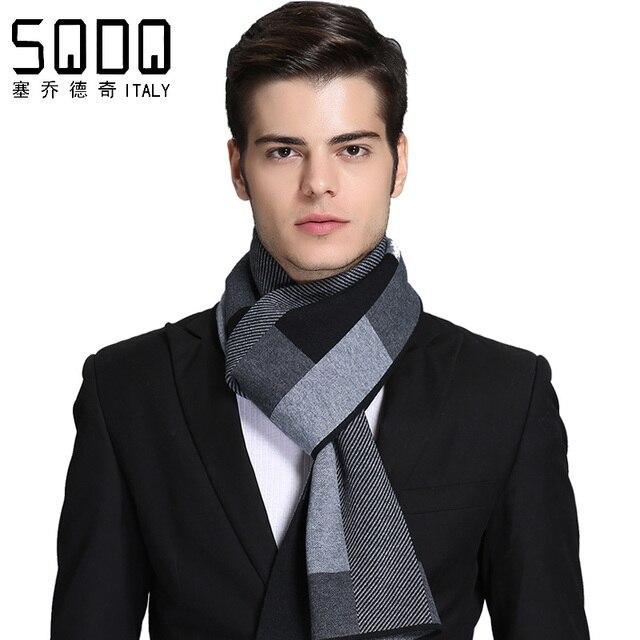 Новый качественный зимний теплый черный и серый шерстяной вязаный шарф мужской подарок кашемировый шарф HF006