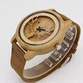 2017 New Fashion Casual Deer Pattern Unisex Quartz Wristwatch Bamboo Case Men Women Clock Leather Strap MIYOTA Movt Wood Watch