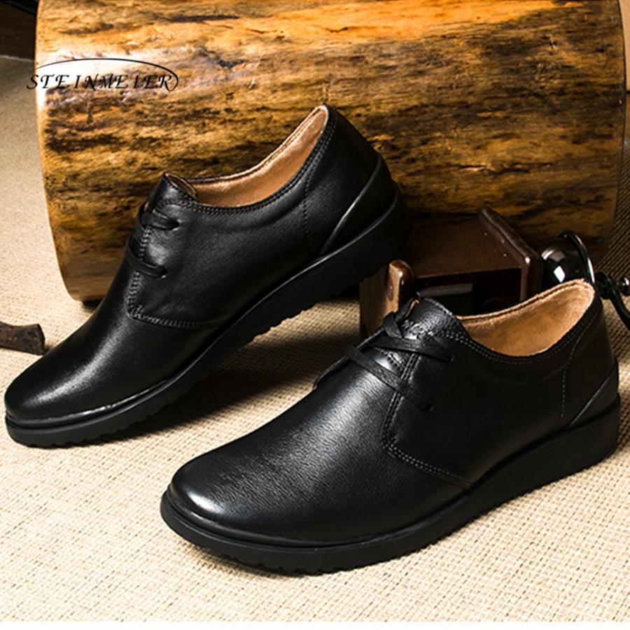 Laços Macio Confortável Negócios Apartamentos Genuíno Couro De Up Dos Homem Casuais E Sapatos Preto Black Marca Vestido Lace Homens cS6wnxyFy