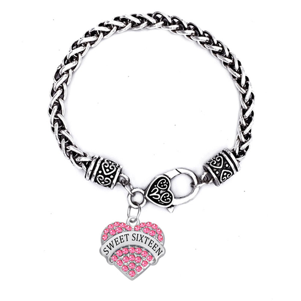Us 4 58 45 Off Double Nose Luck Number Jewelry Sweet Six Bracelets Heart In Crystal 16 Bracelet For Women Chain Link