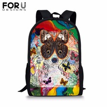 FORUDESIGNS Painted Dog Print School Backpack for Boy Girl Colorful 16 inch Soft BookBag Kids Student Book Bag Mochila 16 inch animal 3d backpack boy kids student large school bag bad dog cat dinosaur lion tiger horse panda printing mochila