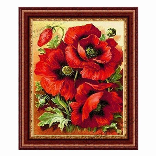 Planta de Rusia Flores Rosa Roja Patrones de punto de Cruz Costura ...