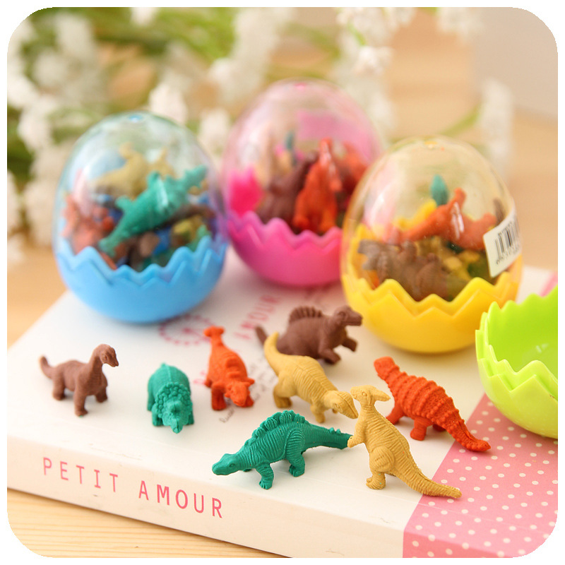 7Pcs/Set Mini Rubber Eraser Cute Dinosaur Egg Eraser Box School Stationery Office Supplies Random Color 5*4cm