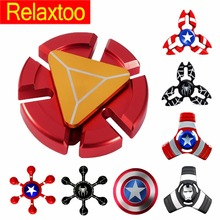 Latest Hero Metal Fidget Puzzle Spinner Hand Newest Iron Man Finger Spinner Spider Man Tri-spinner Adult Kid Child Relax Toy