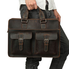 Retro crazy horse leather Men Fashion Handbag Business Briefcase Commercia Document Laptop Case Male Portfolio Bag(China)
