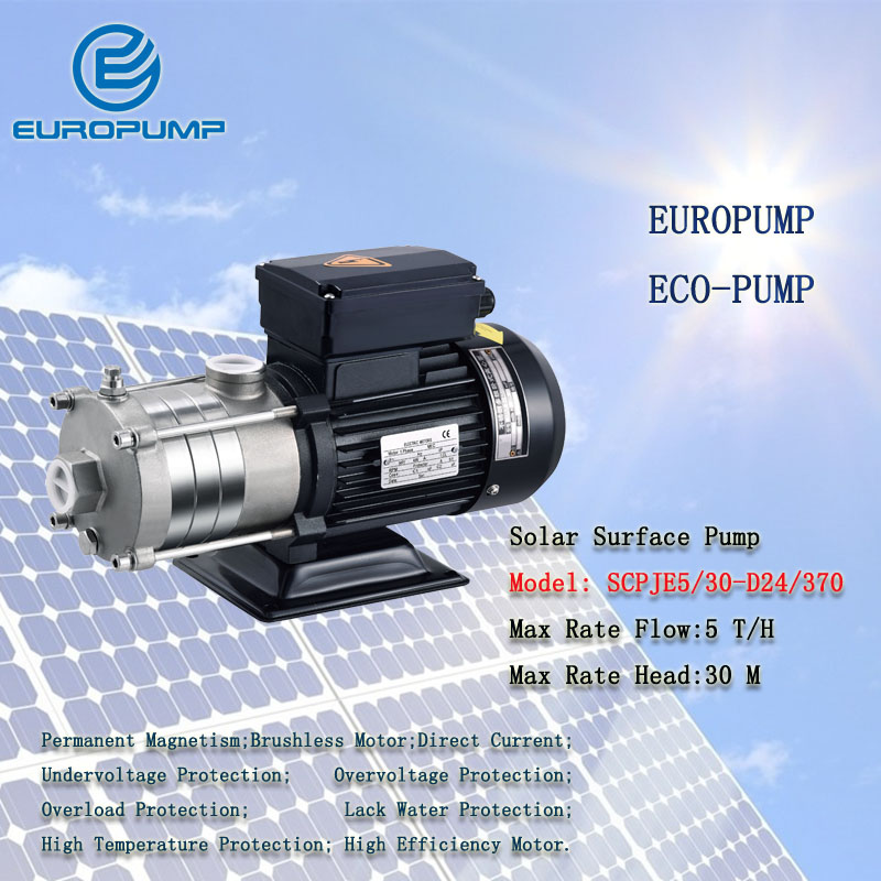 Modèle EUROPUMP (SCPJE5/30-D24/370) pompe de Surface pompe de piscine pompe 24 V 370 watts système de surpression solaire surface Bomba