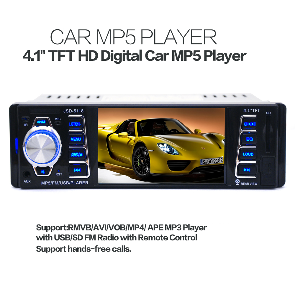 5118 4.1 pouce 1 DIN dans le tableau de bord Bluetooth Auto autoradio stéréo récepteur Audio FM USB SD MMC MP5 lecteur 12/24 V 50 W x 4CH + télécommande