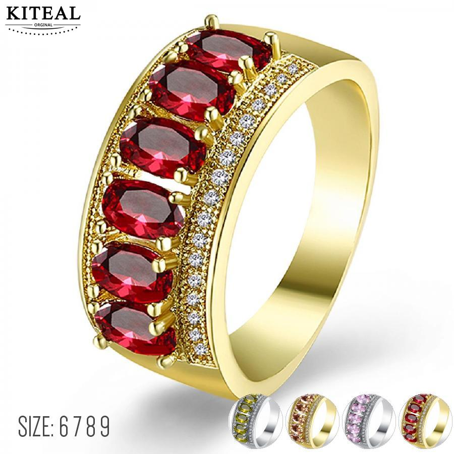 Kiteal Gold Color Luxury 6 7 8 9 Yellow/Red/pink Crystals Bijoux Fashion Cocktail Party Women Ring Cubic Zirconia Chirstmas Gift